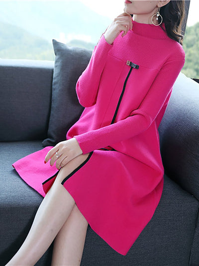 Knitted Slit Elegant Sweater Dress
