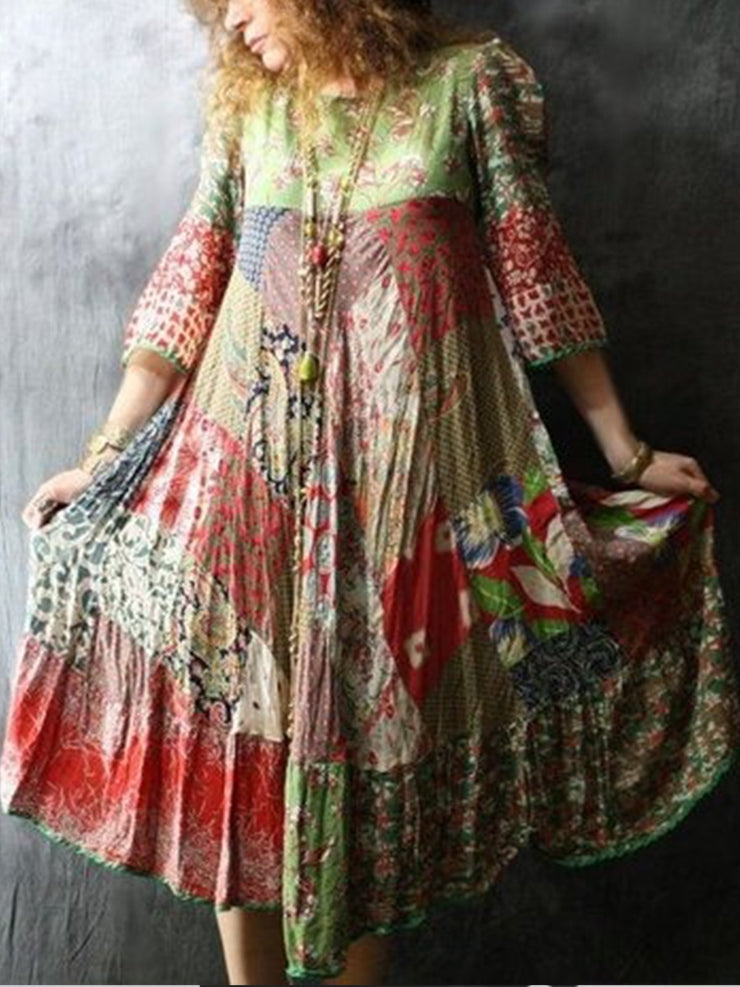 Plus Size Floral Vintage Cotton-Blend Dresses