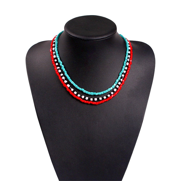 Colorful wooden beads necklace bohemian holiday style multi-layer clavicle chain