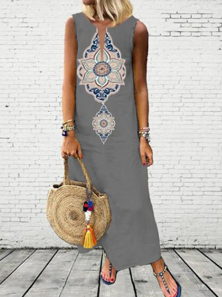 Plus Size Tribal Print Women Summer Maxi Dresses