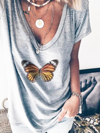 Butterfly Gray Casual V Neck Cotton-Blend Shirts & Tops