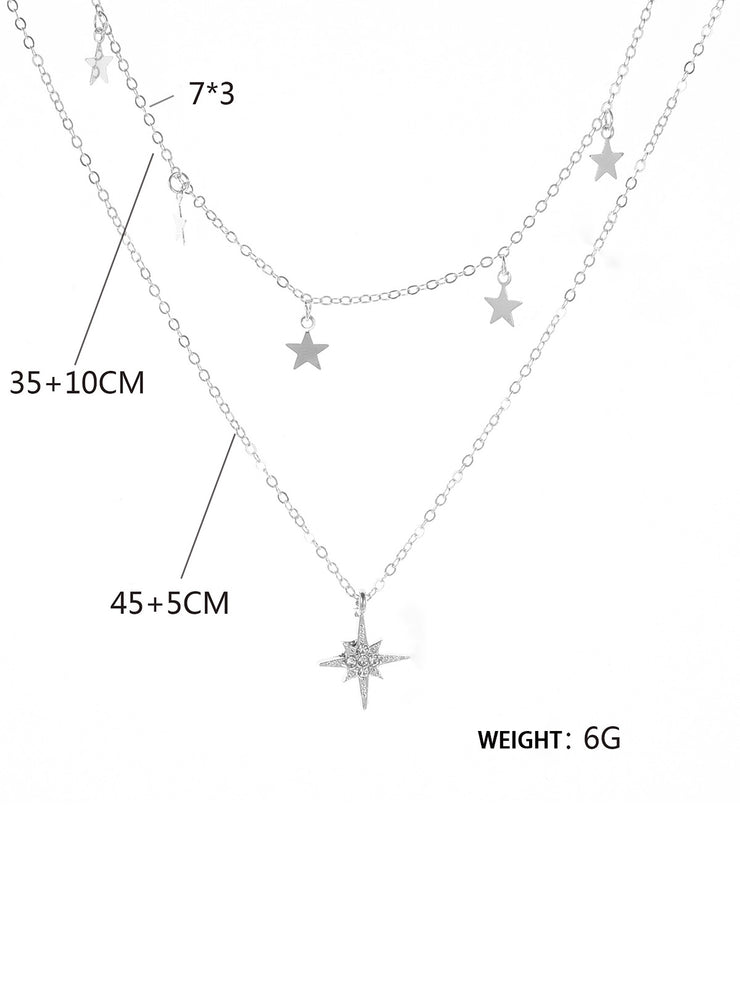 Women Alloy Double Layer Stars Necklaces