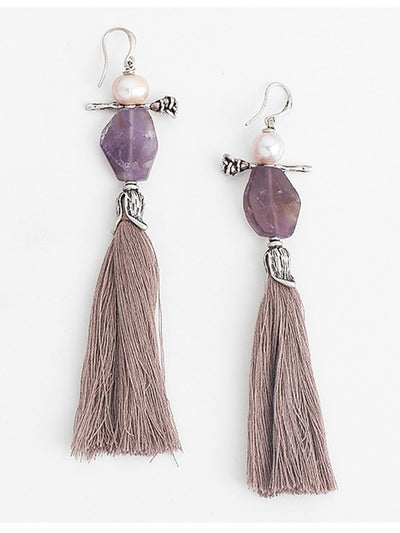 Women Alloy Tassel Drop Earrings