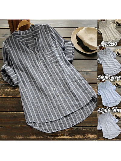 V neck  Shift Women Daily Cotton Casual Striped Casual Dress