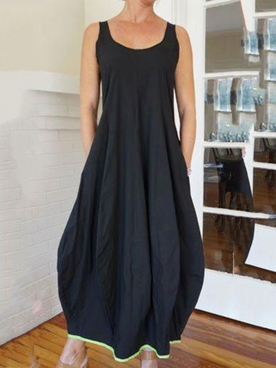 Women Dress Pockets Round Neck Sleeveless Maxi Dresses