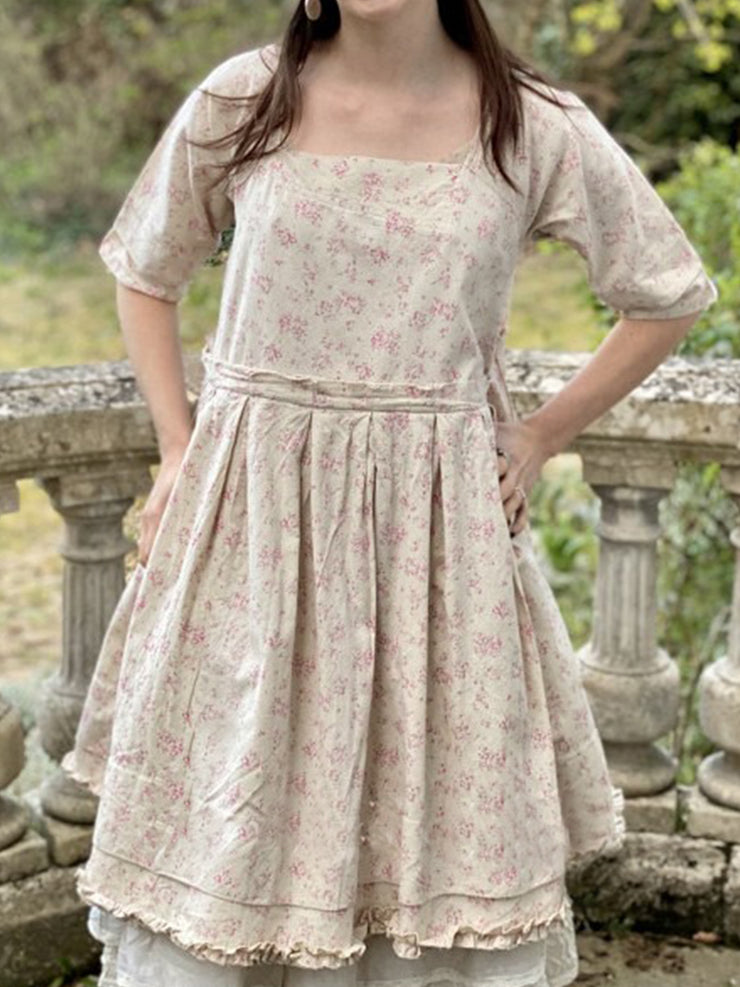 Plus Size Square Neck Casual Floral Dresses