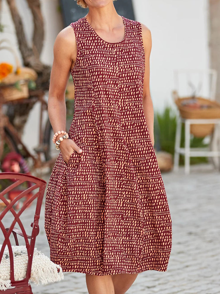 Sleeveless Pockets Midi Dress Summer Cocoon Dresses
