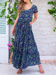 Floral Pockets Maxi Dress Summer Plus Size Dresses