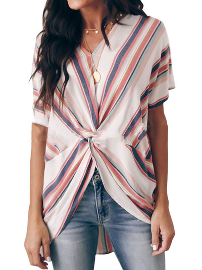 White Striped Short Sleeve Shirts & Tops
