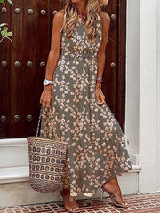 Floral Print Sleeveless V-neck Casual Maxi Dresses