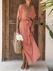 Summer Solid Maxi Dress Plus Size Boho V Neck Dresses