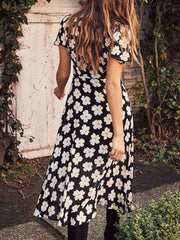 Sunflower V Neck Black Women Dresses Dresses
