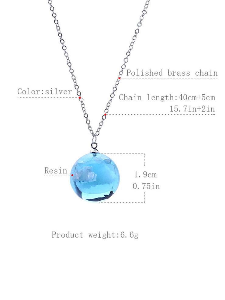 Blue sky and white cloud transparent resin necklace