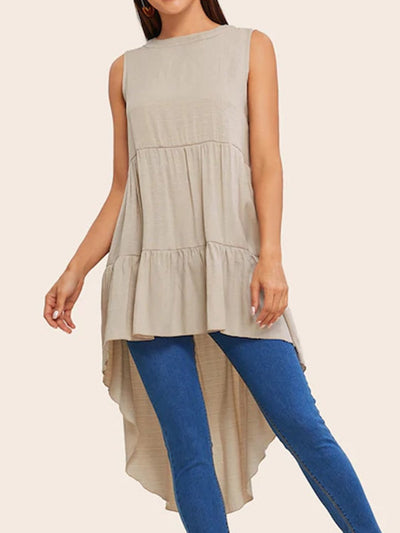 Round neck casual short front long A swing shirt