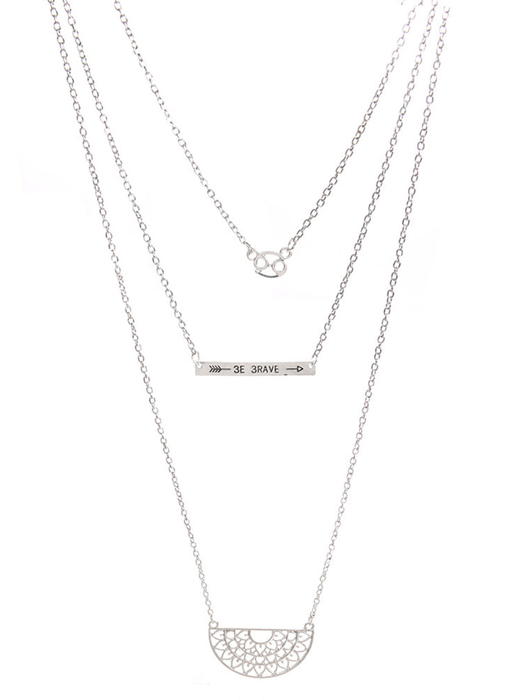 Bohemian hollow totem arrow multilayer necklace clavicle chain