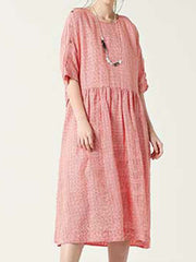 Literary Loose Short-Sleeve Cocoon Plaid Dress