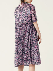Casual A-line Short Sleeve Abstract Print Dress