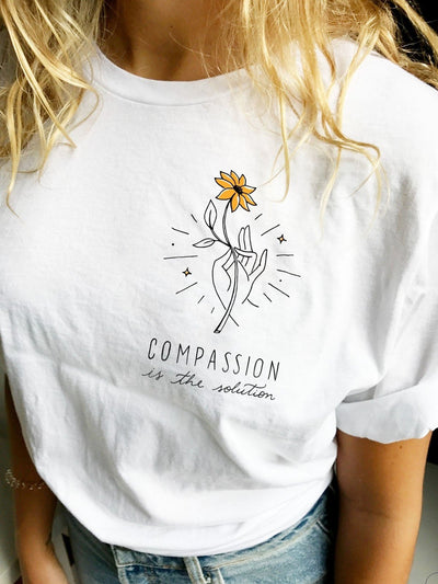 Compassion Is The Solution Tee White Short Sleeve Crew Neck Shirts & Tops