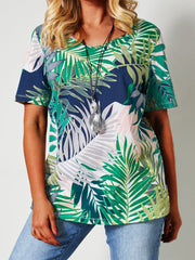 Boho green leaf short sleeve round neck pullover and top