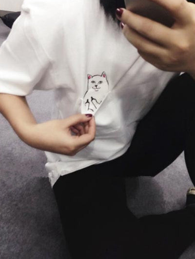 Cat With Middle Finger Casual Short Sleeve Shirts & Tops