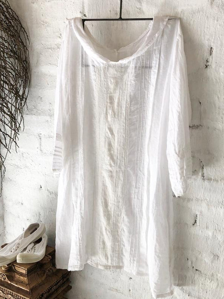 White 3/4 Sleeve Shawl Collar Cotton-blend Linen Dresses