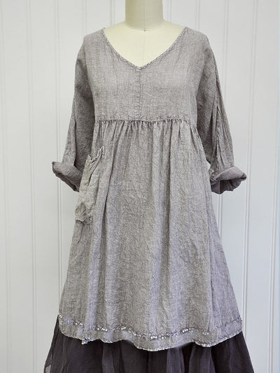 Gray Sweetheart Vintage Cotton-Blend Plain Dresses