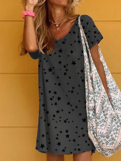 Plus size Casual V Neck Star Dresses