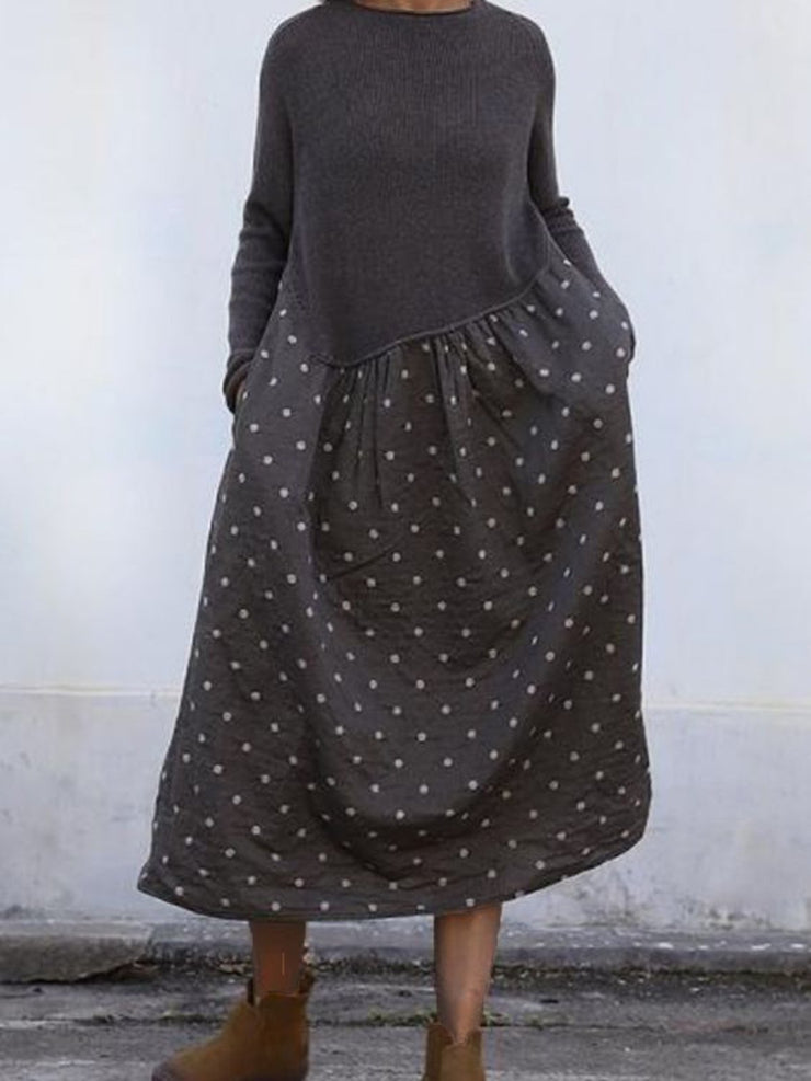 Crew Neck Deep Gray Women Dresses Daily Paneled Polka Dots Dresses
