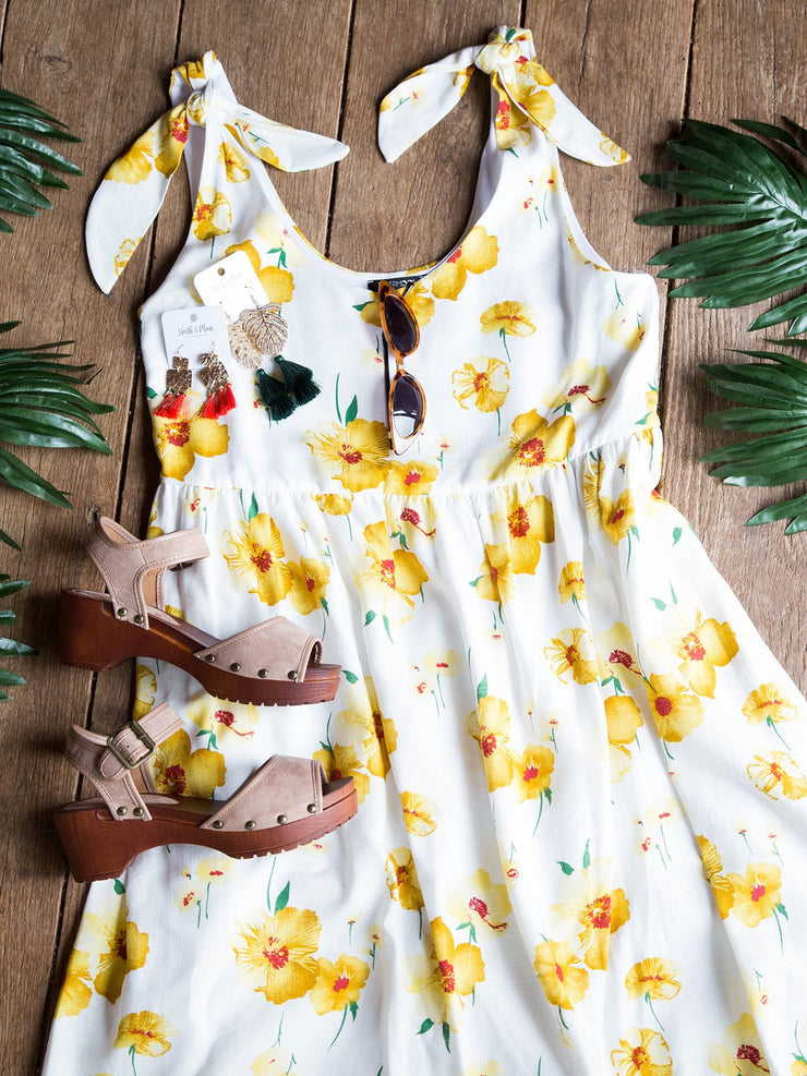 White Floral Sleeveless Printed Holiday Dresses