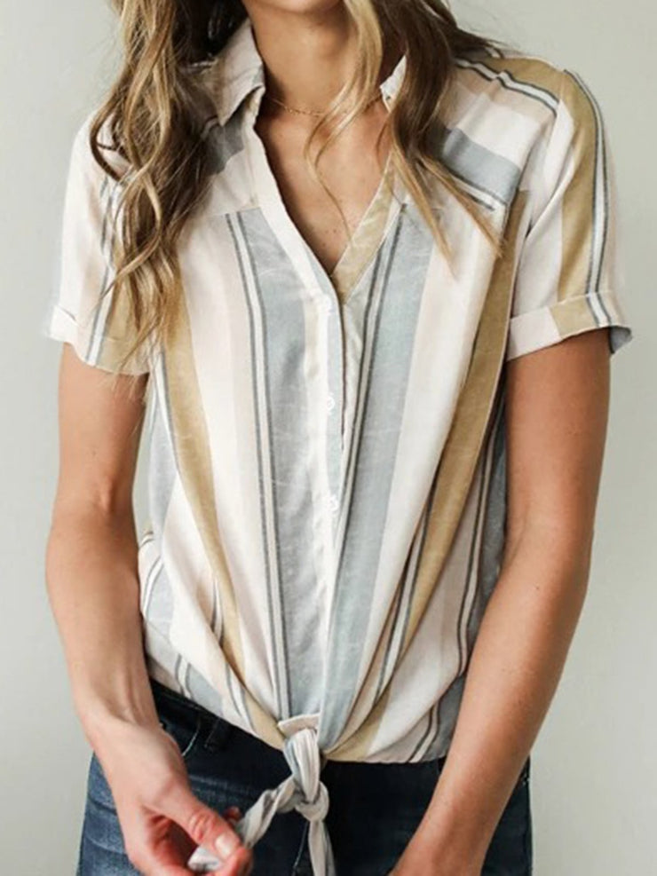 Short Sleeve Casual Striped Shirts & Tops