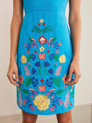 Embroidered Boho Floral Crew Neck Dresses