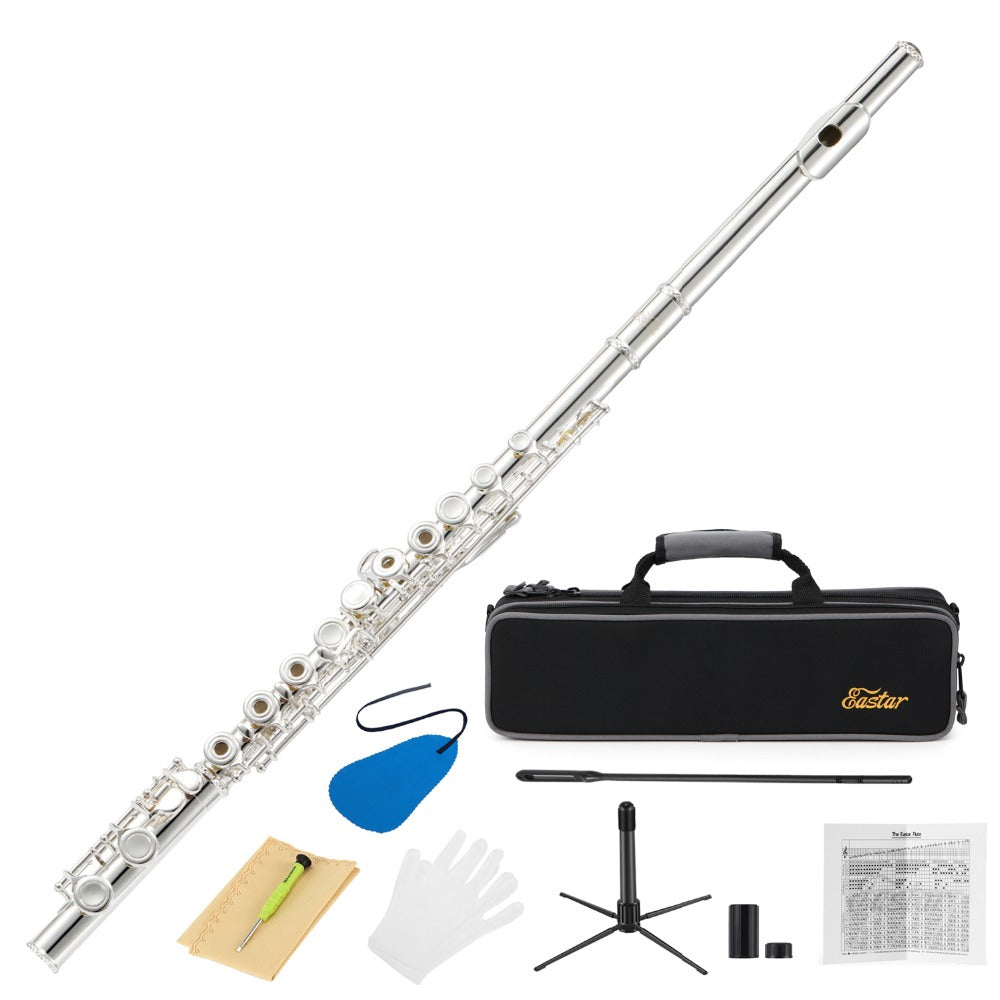 16 Keys Silver Plated Flute Set Musical Instrument With Flute Stand Case Cleaning Tool