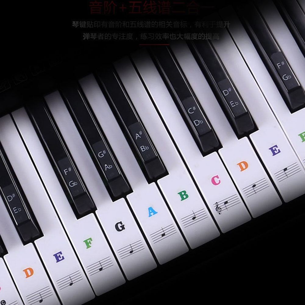 Transparent detachable music decal notes piano keyboard stickers 54/61 or 88-key electronic piano piano spectrum sticker symbol