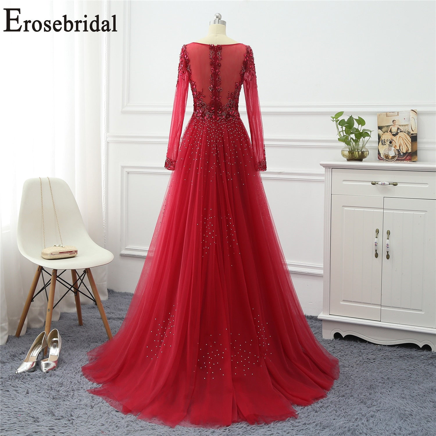 Erosebridal Elegant A Line Evening Gowns with Train for Women