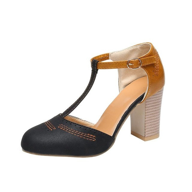 Summer Pumps Square Heel High Shoes