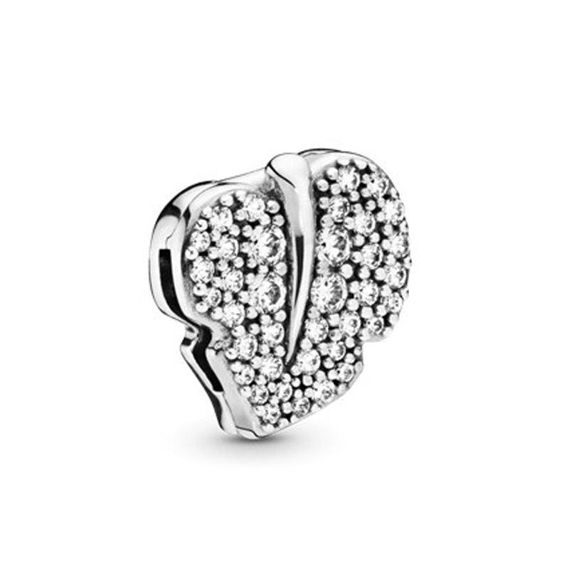 DIY Real Sterling Silver Charm With Crystal Beads Fit Pandora Bracelets for Women