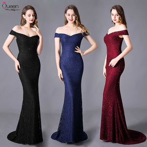 Long Stretchy Sweep Train Lace Evening Dress for Women