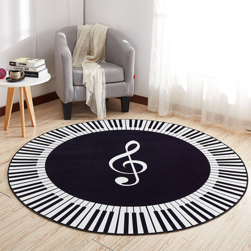 New Piano Keys Black White Round Carpet Anti Slip Rugs EHOMEBUY
