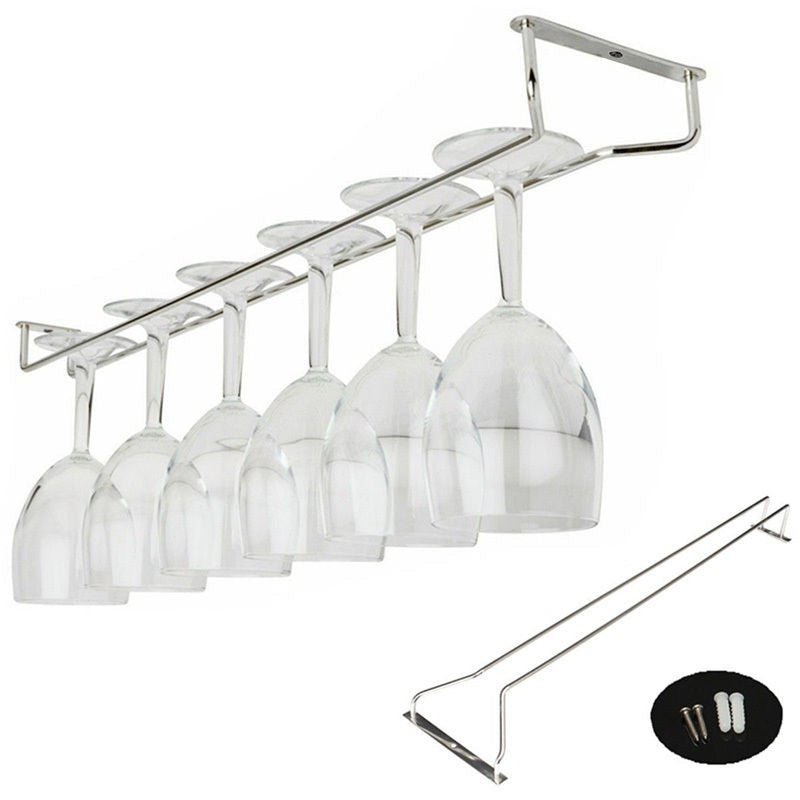 Stainless Steel Hanging Bar Wine Rack/ Glass Holder