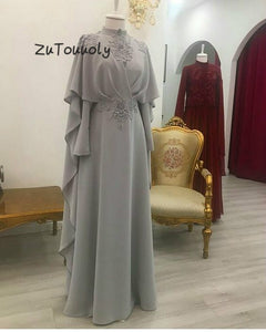Modern Saudi Arabia Appliques Chiffon Silver Evening Dress With High Neck for Women
