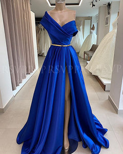 Royal Blue Arabic Style Long Evening Gown With Gold Belt and Sexy High Slit