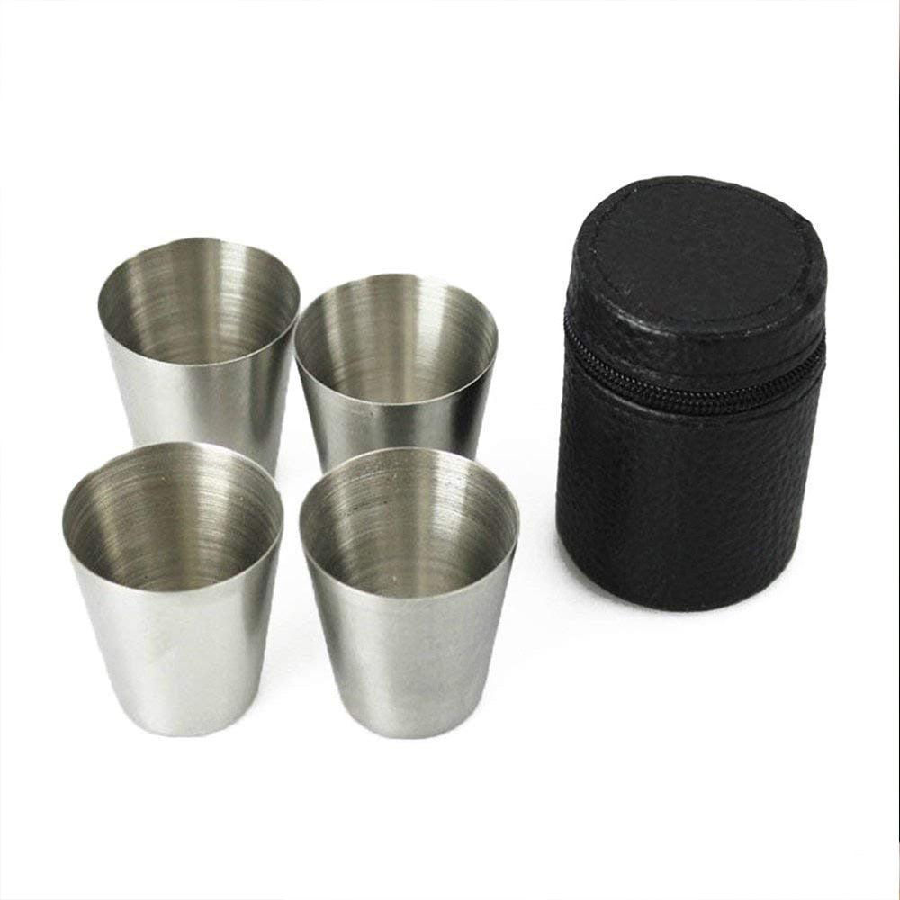 Mini Stainless Steel 30ml Shot Glass With Leather Cover