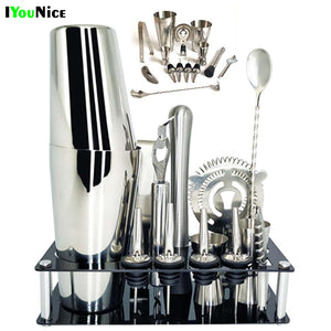 1-14 Pcs Stainless Steel Bar Tool Set With Wine Rack Stand