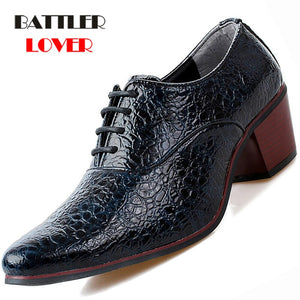 Mens Crocodile Leather Luxury 6cm High Heel Pointed Toe Oxford Shoes