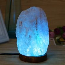 Load image into Gallery viewer, Hand Carved USB Wooden Base Himalayan Rock Salt Lamp