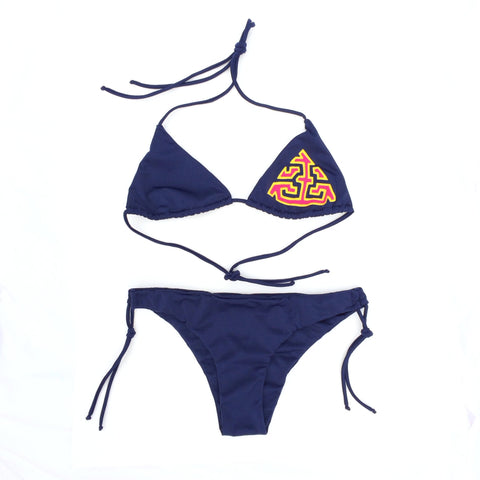 Kuna Mola on Pitahaya Bikini - Blueberry/Large