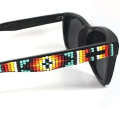 Metis Beaded Bamboo- Turquoise Fire on Black. Backorder