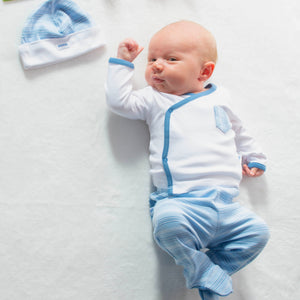 Blue and White Stripe Outfit with Cute Pockets - 3 Piece Set - 0 to 3 months - 100% Pima Cotton - Pima Baby