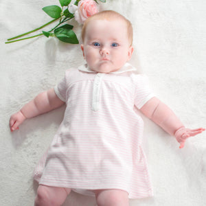 Little Princess Pink Stripe Dress – 1 to 3 months – 100% Pima Cotton - Pima Baby