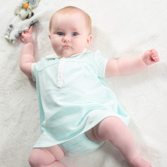 Little Princess Turquoise Stripe Dress – 1 to 3 months – 100% Pima Cotton - Pima Baby